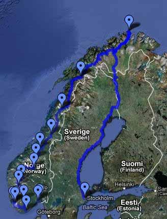 Capo Nord Norvegia 2010 percorso